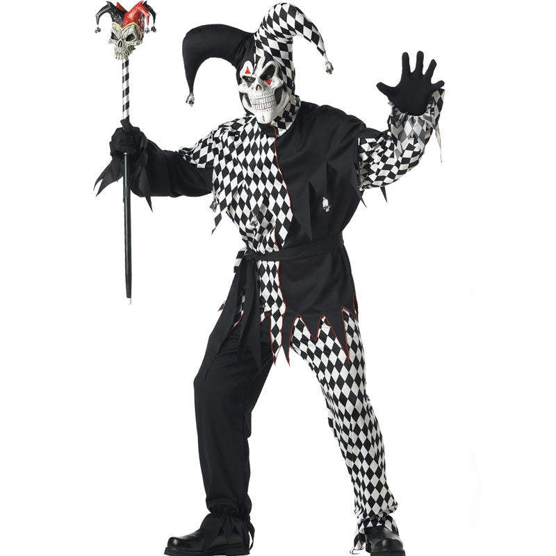 Adult Evil Jester Black White Harlequin Costume