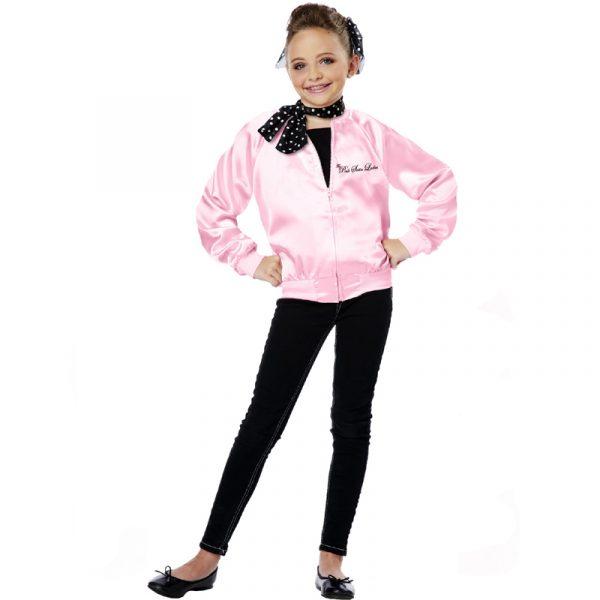 Pink Satin Ladies Jacket Child Size 50s Costume