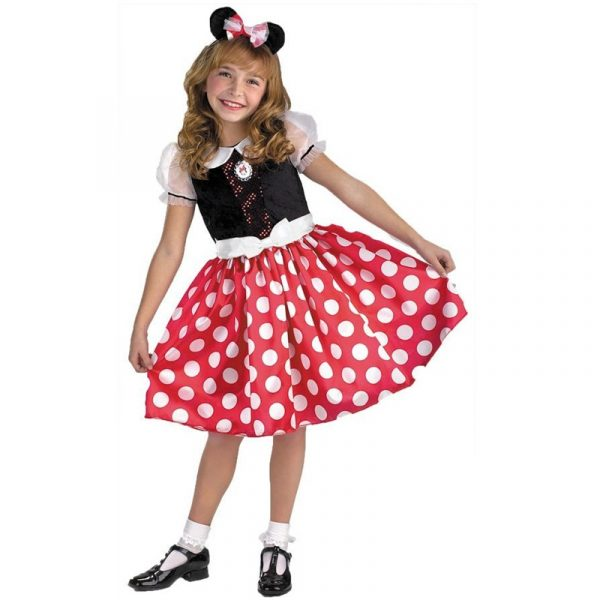 Minnie Mouse Child Costume with Red Skirt and White Polka Dots