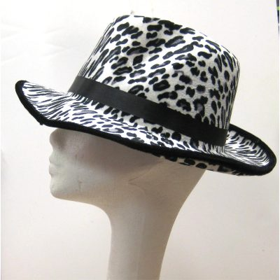 Printed Fabric Leopard Fedora White/Black