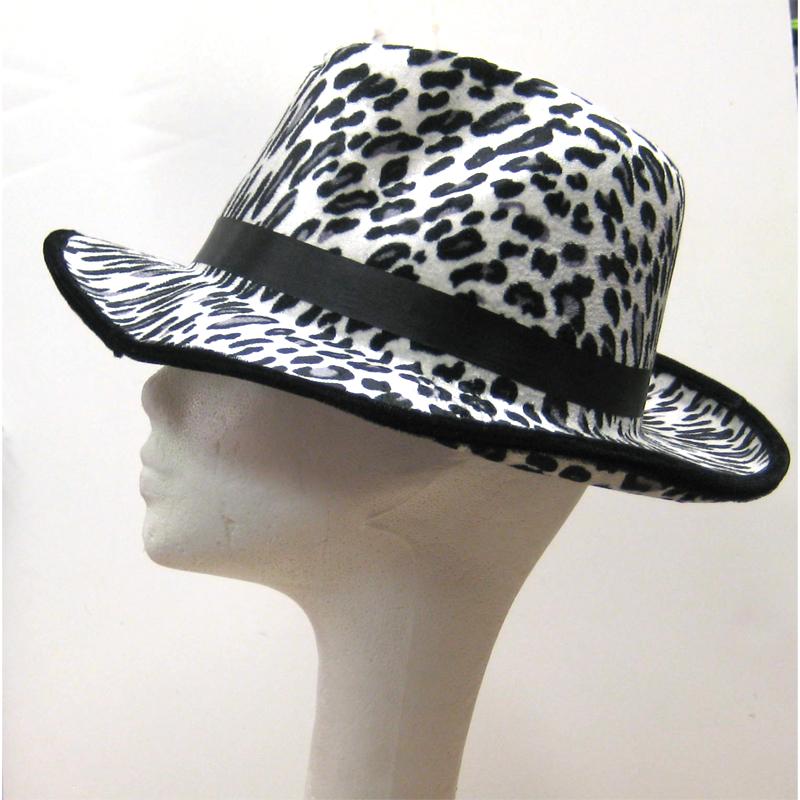 Printed Fabric Leopard Fedora White/Black