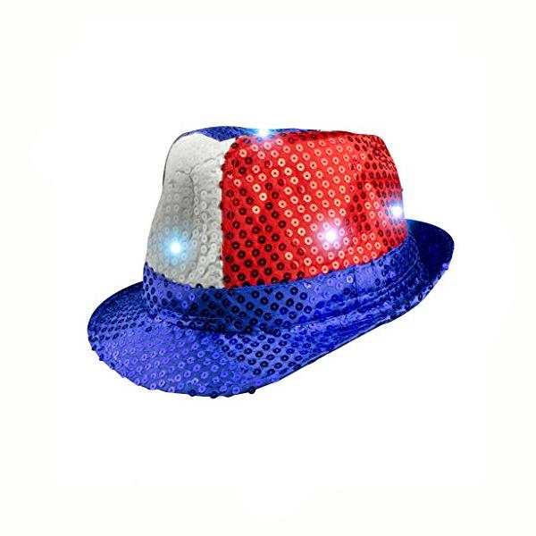 a1f71339908 Light-up Sequin Fabric Patriotic Fedora Hat - Cappel s