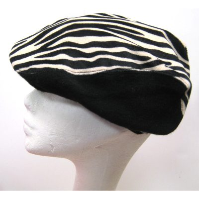 Fabric Taxi Style Hat Zebra Print