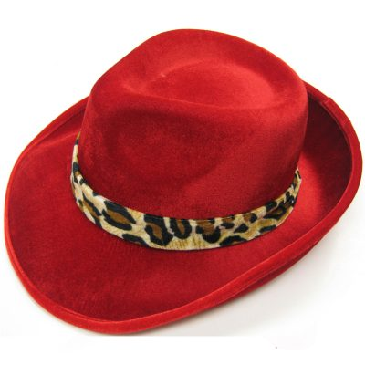 Red Velour Big Daddy Hat Leopard Band