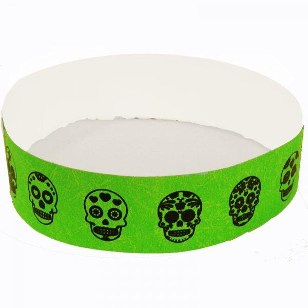 Sugar Skull Tyvek Wristband - Neon Lime