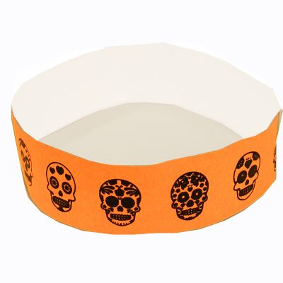 Sugar Skull Tyvek Wristband - Neon Orange