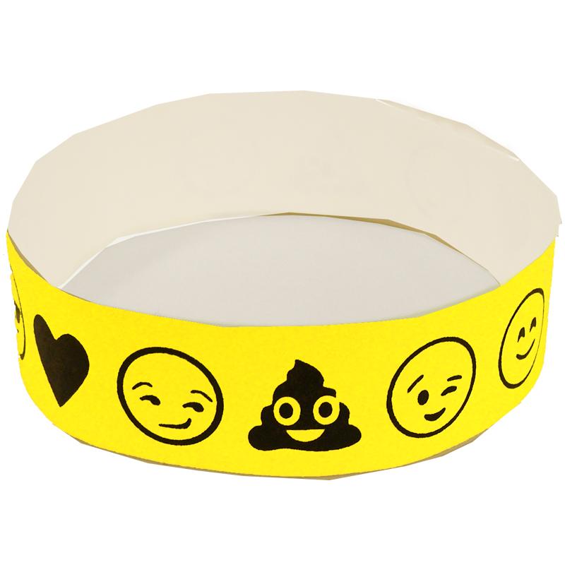 Emoji Wristbands Tyvek Single-Use Neon Yellow