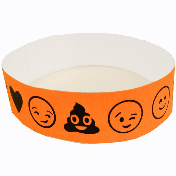 Emoji Wristbands Tyvek Single-Use Neon Orange