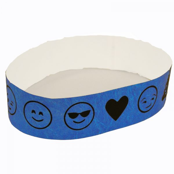 Emoji Wristbands Tyvek Single-Use Blue