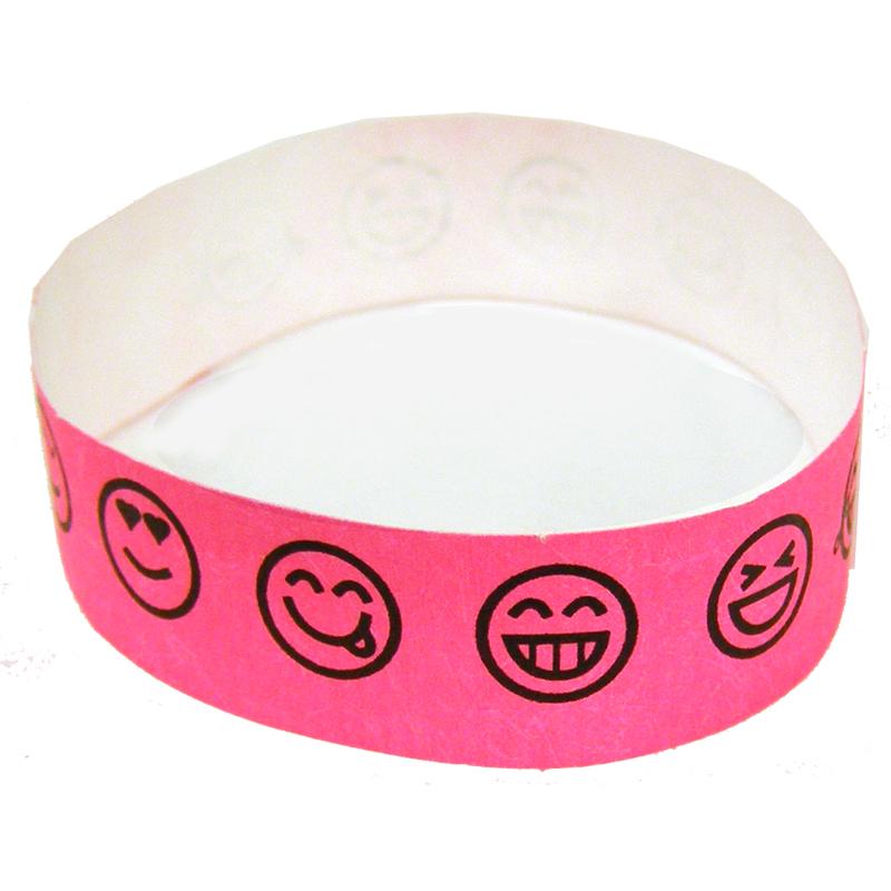 Emoji Smile Tyvek Wristband - Neon Pink