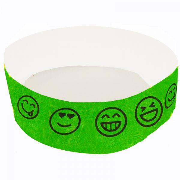 Emoji Smile Tyvek Wristband - Neon Green