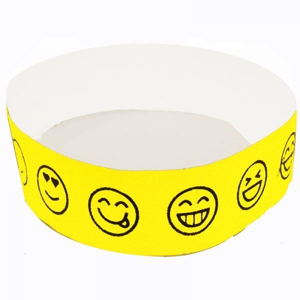 Emoji Smile Tyvek Wristband - Neon Yellow