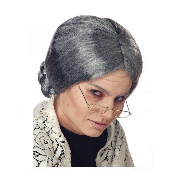 Grandma Wig Old Lady Gray Braided Bun