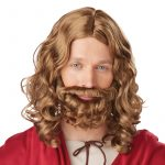Jesus Wig Beard Mustache Brown Adult Child