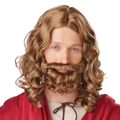 Jesus Wig Beard Mustache Brown Adult Child