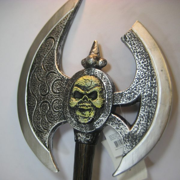 Costume Plastic Double Edge Skull Axe