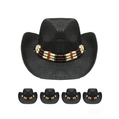 Fine Woven Wester Hat w/ Triple Beaded Band - Black