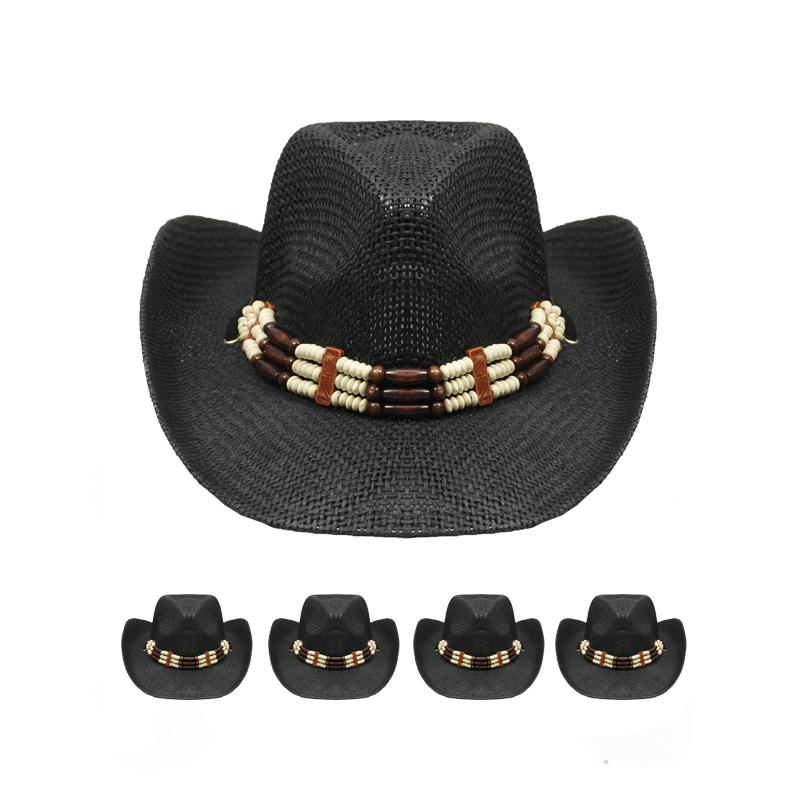Fine Woven Wester Hat w/ Triple Beaded Band - Black