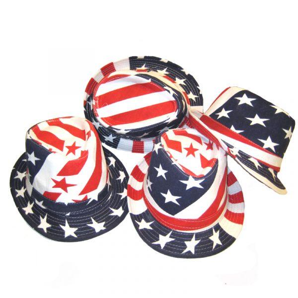 patriotic fedora printed fabric hat