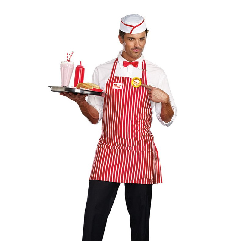 Diner Dude Fast Food Apron Bar B Q Costume