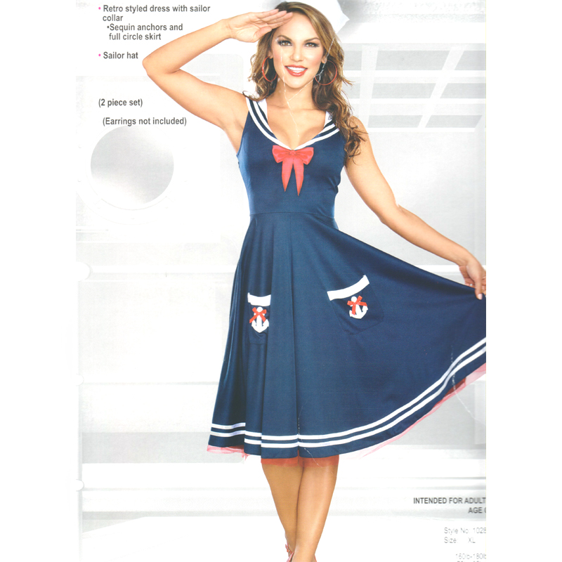 All Aboard Blue White Red Sailor Dress