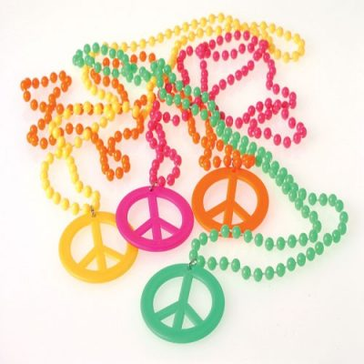 Neon Plastic Peace Sign Bead Necklace