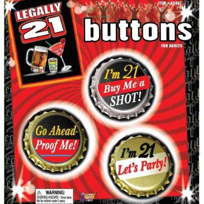 Legally 21 Assorted Party Buttons