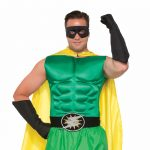 Costume Black Fabric Superhero Gauntlet Gloves