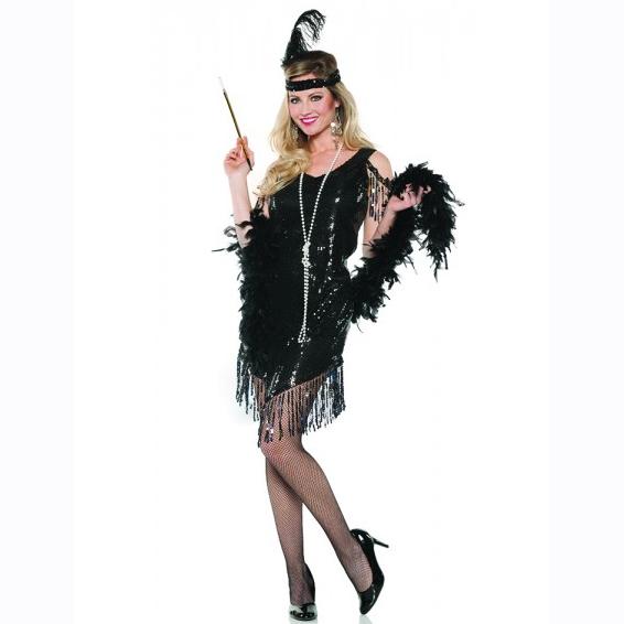 Black Swingin Flapper Sequin Dress