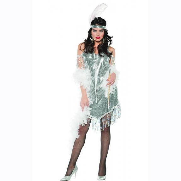 Silver Swingin Flapper Sequin Dress