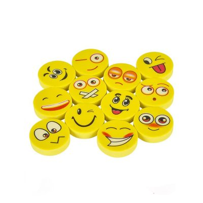 "1"" Party Round Emoji Face Erasers"