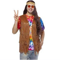 Brown fringed hippie vest