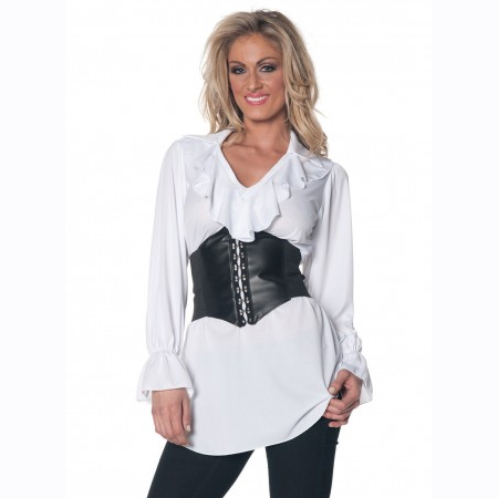 White Ruffled Peasant or Pirate Blouse