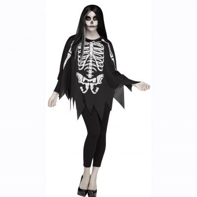 Skeleton Poncho - White/Black