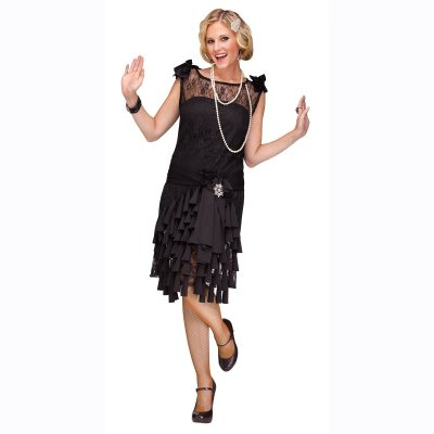Black Flirty Flapper Costume Dress