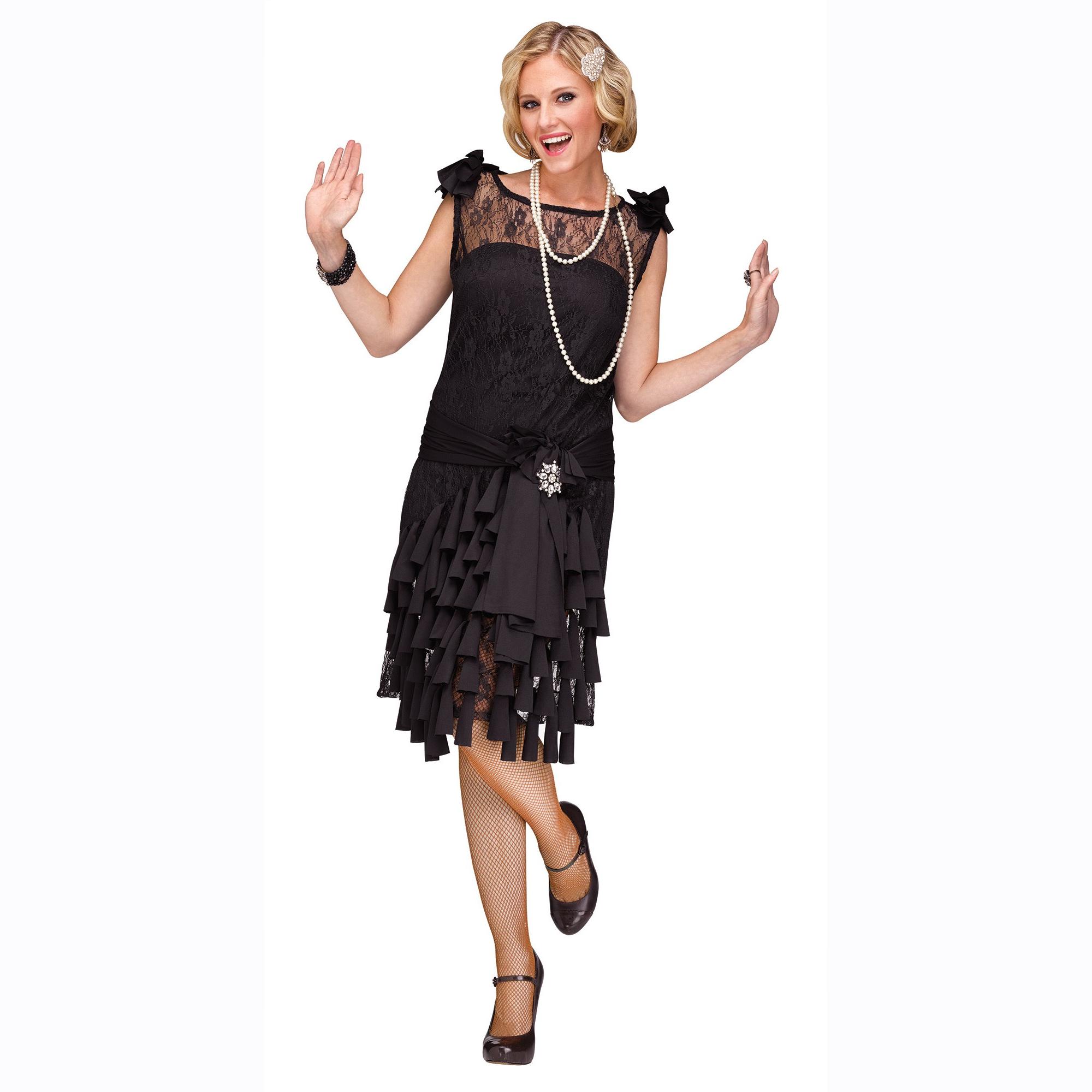 Black Flirty Flapper Costume Dress