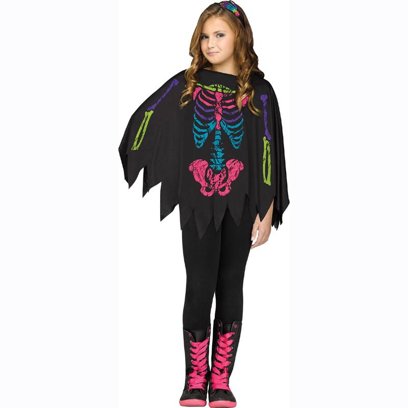 Color bones skeleton poncho