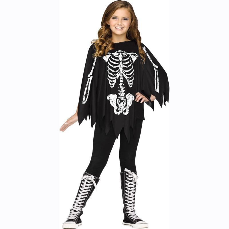 Kids skeleton bones poncho