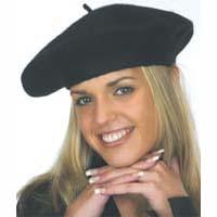 French Beret, Black Wool