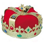 Plated Plastic Kings Crown with Multi Colored Jewels