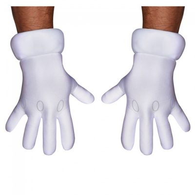 Super Mario Brothers Gloves White Fabric
