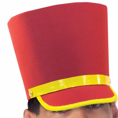 Red Fabric Toy Soldier Hat Yellow Gold Trim