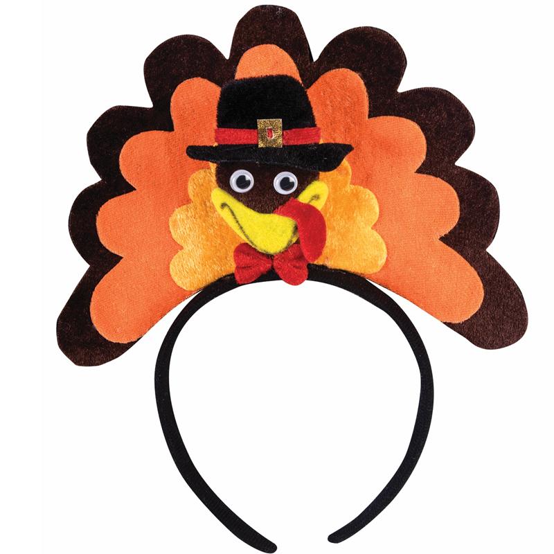 Fabric Turkey Wearing Hat Headband