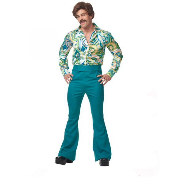 70s Dude Psychedelic Shirt Matching Bell Bottom Pants