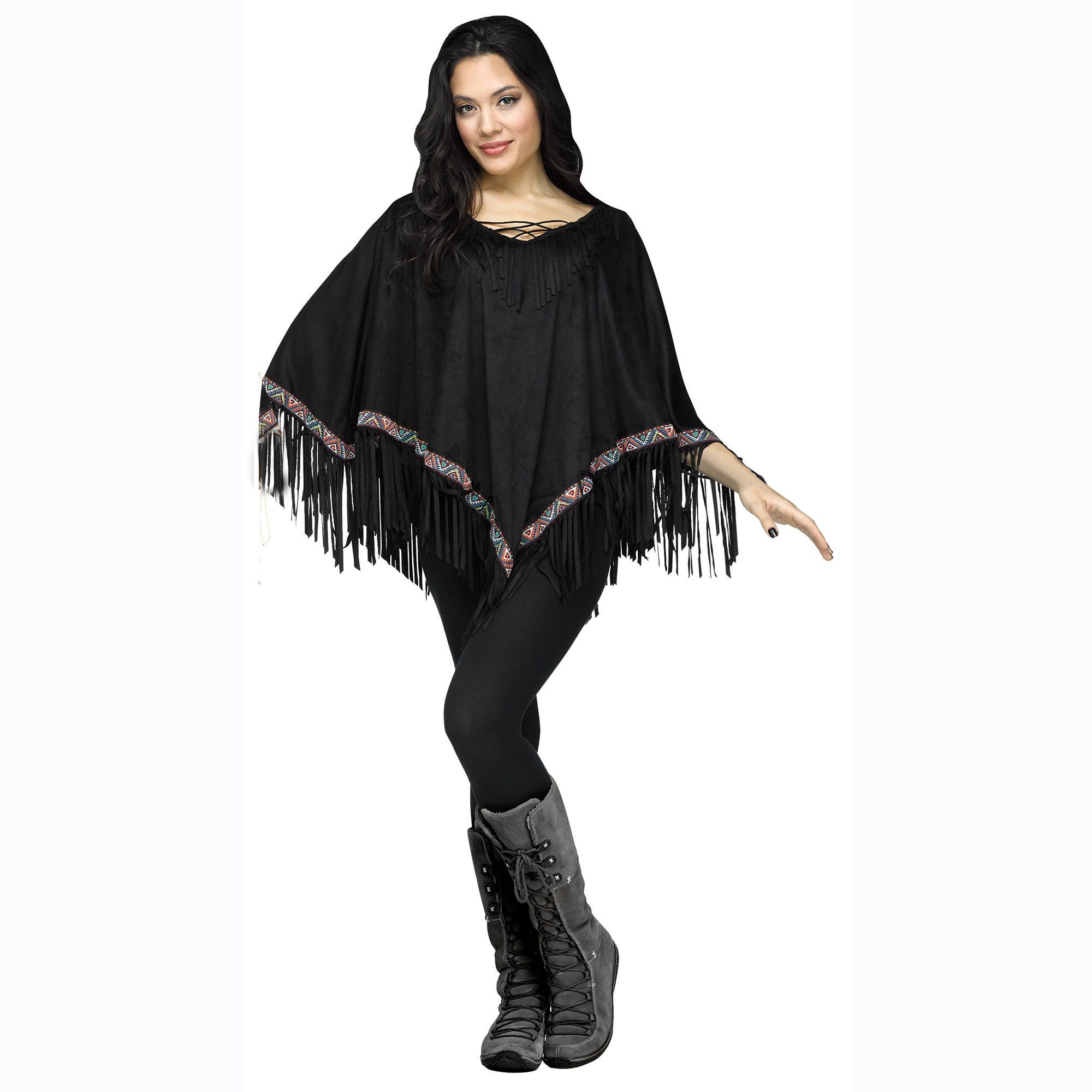 Ladies Black Fringed Hippie Indian Poncho