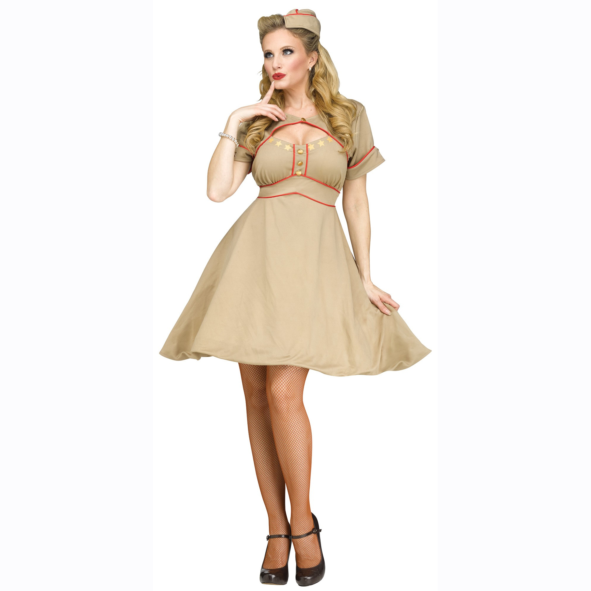 Army Gal Ladies World War II Era Military Style Dress