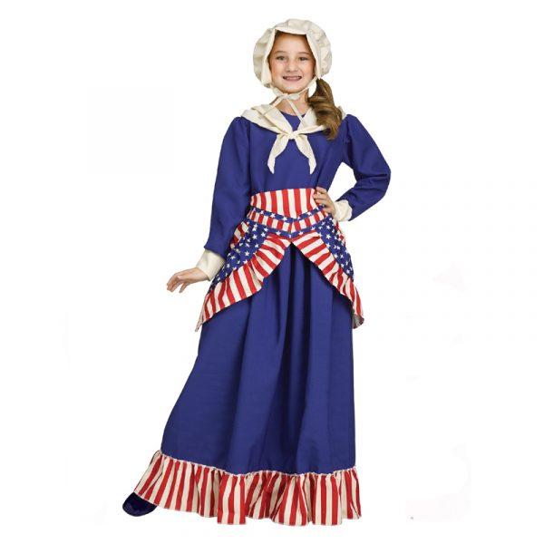Girls Betsy Ross Colonial Patriotic Dress