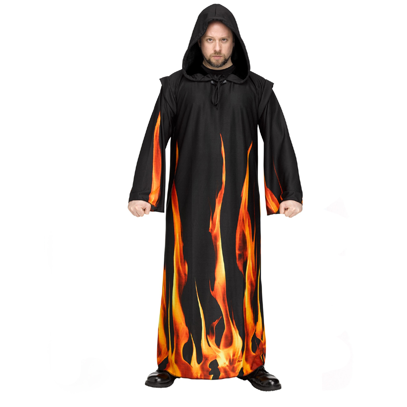 Adult Black Hooded Burning Robe