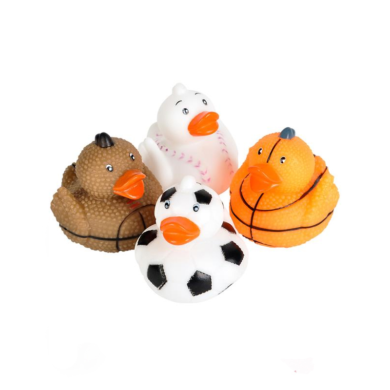 Sports Ball Rubber Ducks. Choose from any of the four styles: Baseball, Soccer, Football, or Basketball.