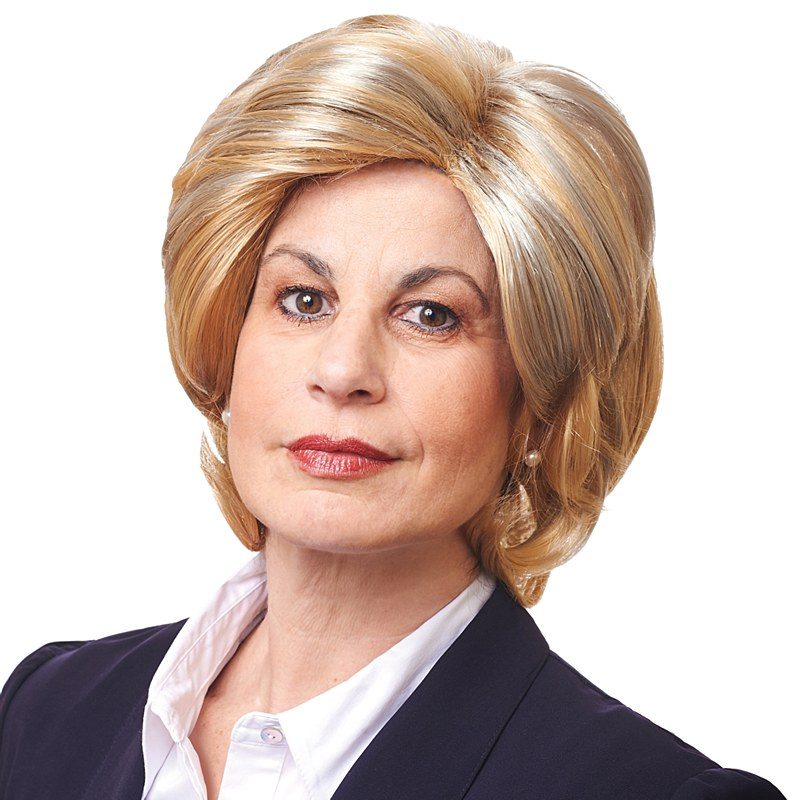 madame president wig ladies short mixed blonde wig with side part